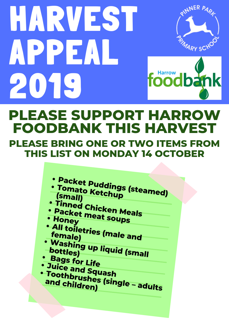 Harvest For Harrow Foodbank Pinner Park Primary School